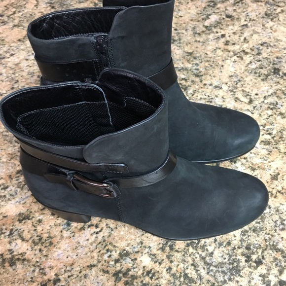 Womens Black Boots With Heel Buckle